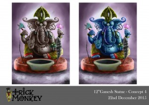 Final Ganesha Sculpture Concept Art - Trick Monkey